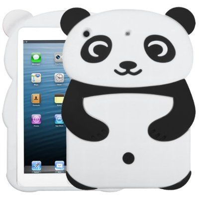 3d Panda Silicon Soft Gel Cover Case for Apple iPad 2/3/4, Black - iPad 2/3/4 Cases