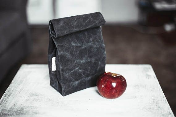 #Hand #waxed #canvas #lunch #bag #Food #bag #Black #lunch #bag #Lunch