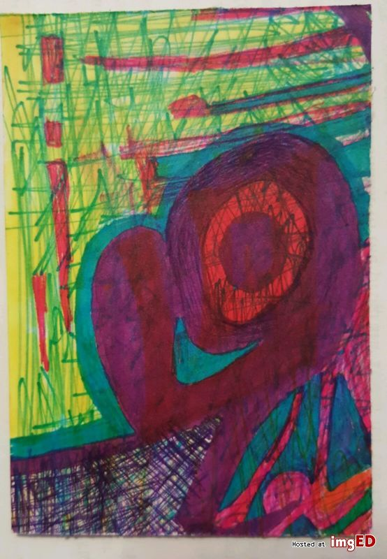 Bipolar art original aceo found poetry outsider brut abstract modern art atc