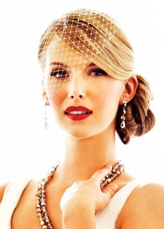 Bridal Ivory Blusher Veil  -  Birdcage Wedding veiling Also available in white, black, royal purple, aqua, and red