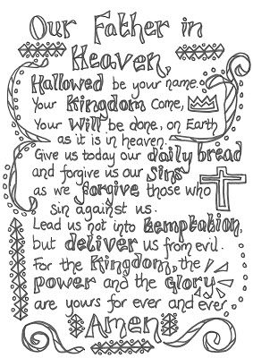 Flame: Creative Children's Ministry: The Lord's Prayer: Crafts, games and prayer activities - LORDS PRAYER coloring page