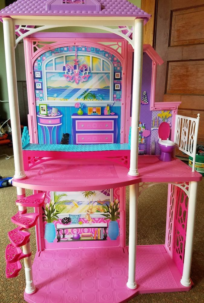 2011 Mattel Barbie 2 Story Beach House Playset    Good used condition overall     Missing some pieces    Please inspect photos for more information     THANKS AND be sure to check out all our other collectibles for sale | eBay!