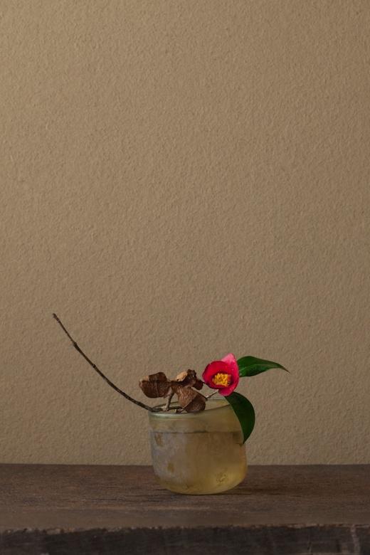 bouquet japonais, mars 2012, camélia et bol en verre dépoli romain, brun,