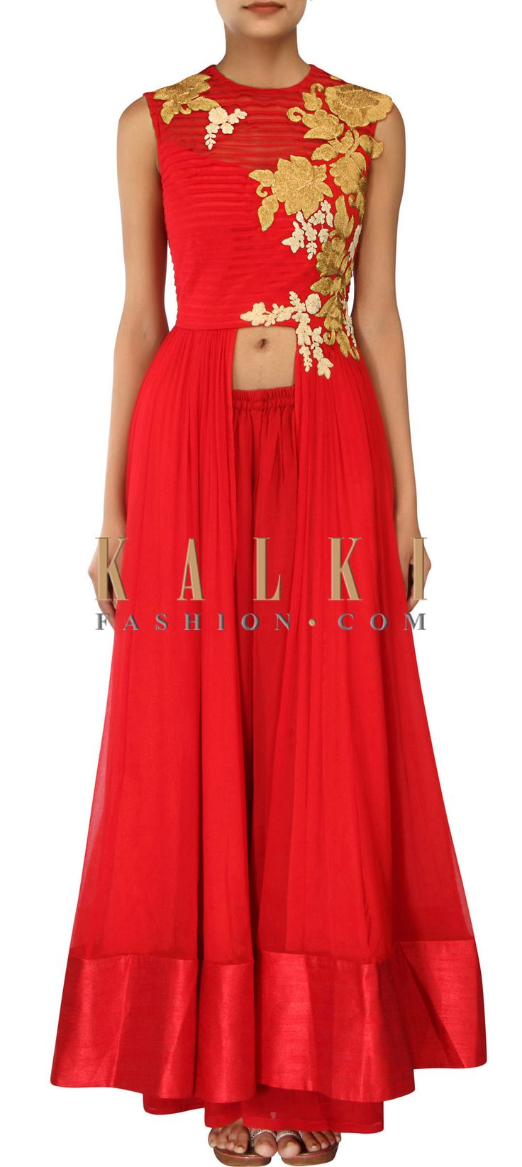 Buy Online from the link below. We ship worldwide (Free Shipping over US$100) http://www.kalkifashion.com/red-anarkali-suit-adorn-in-pleats-and-zari-embroidery-only-on-kalki.html