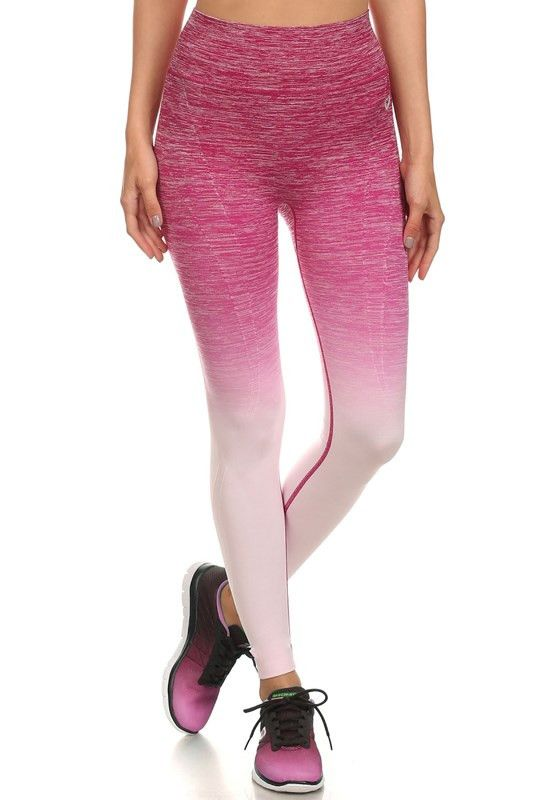 Step up your workout game in our Know Yourself ombre leggings! Gorgeous ombre leggings with pink to white fade, purple to white fade, or mint to white fade. Four way stretch to maintain its shape, fla