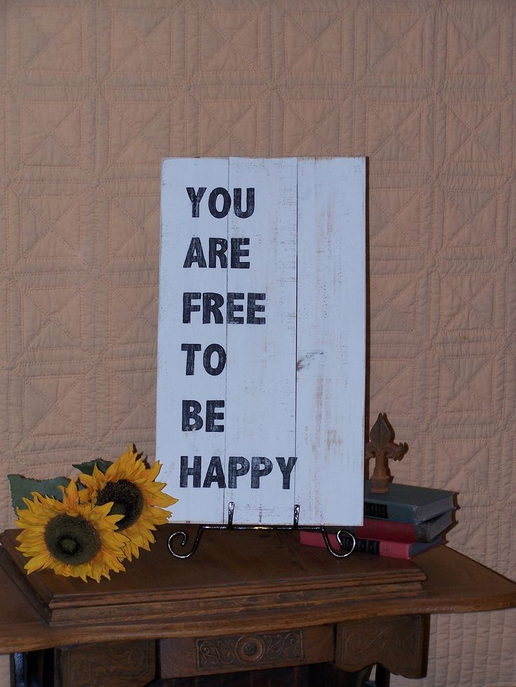 Large Wood Sign Home Decor, Minimalist Industrial, Rustic, Shabby Cottage Chic, You Are Free to be Happy Quote, Color Choice. $37.95, via Etsy.