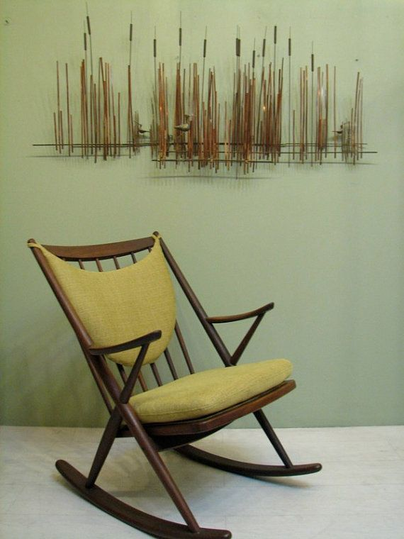 Mid-Century Danish Modern Rocking Chair in Avocado Green - 1950s Walnut Vintage Rocker
