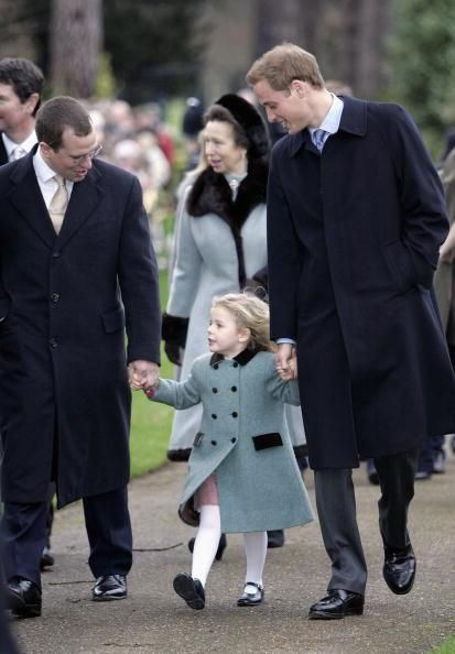 Peter Phillips and Prince William walk hand in hand with their young cousin Margarita Armstrong-Jones, the daughter of their cousin David, Viscount Linley and Serena and granddaughter of Princess Margaret. Princess Anne follows a short distance behind. - HOW CUTE IS THIS?