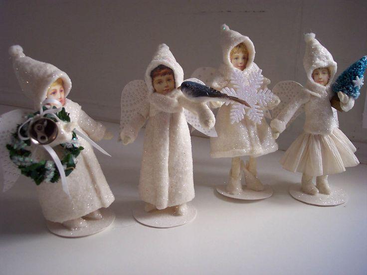 "Reproduction ""batting"" Christmas Angels By Jennifer Bohrer"
