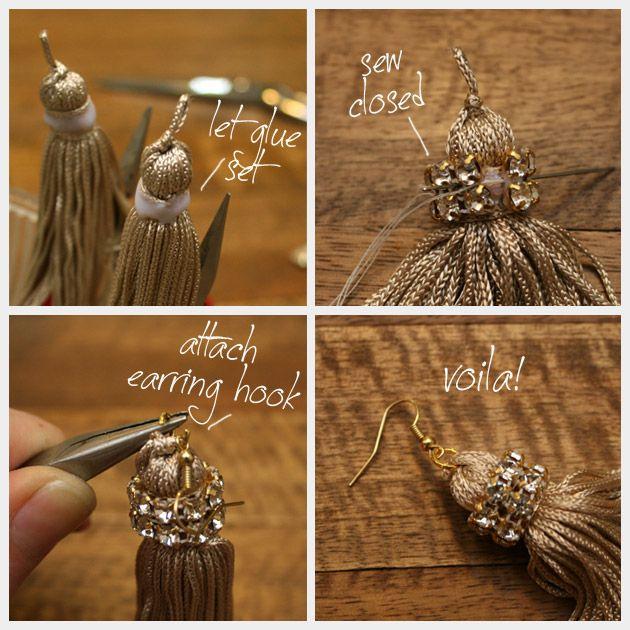 DIY Tassel Earrings with Rhinestones