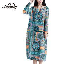 Новая Мода Элегантный Весна Dress Женщины Винтаж Печати Хлопок Белье Dress Casual Плюс Размер Maxi Длинные Платья 2017 Халат Vestidos(China (Mainland))