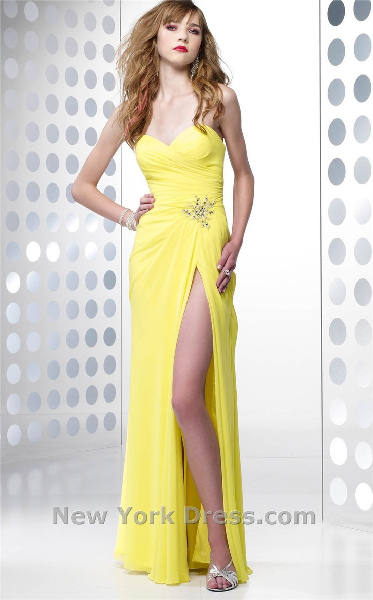 Inexpensive yellow prom dresses can be found in the shop