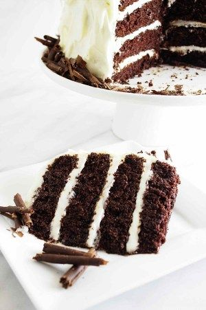 Intense Chocolate Cake with Cream Cheese Frosting.