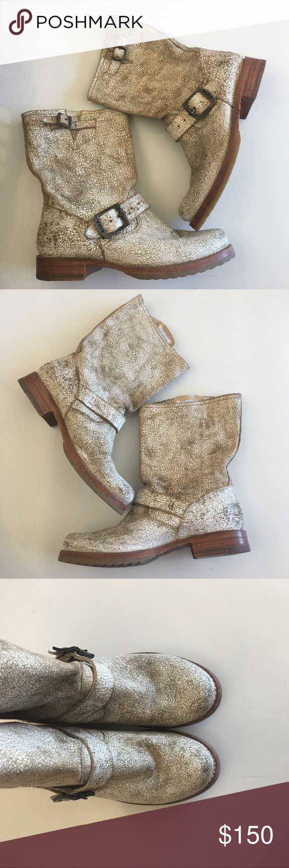 Frye Veronica White distressed finish, worn a couple of times, true to size . Frye Shoes Combat & Moto Boots