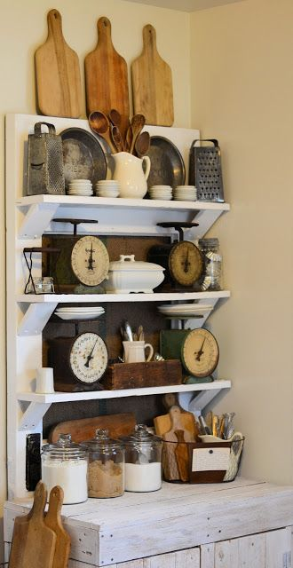 vintage decor- I like the old farmhouse feel.. A bit cluttered so I wouldn't want 4 scales, but maybe one old one would be cool @rubylanecom #VintageKitchen #rubylane