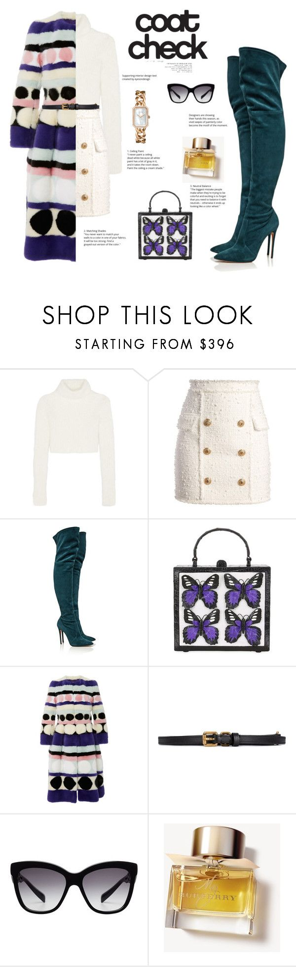 """Go Bold: Statement Coats"" by fashionbrownies ❤ liked on Polyvore featuring Roberto Cavalli, Balmain, Casadei, Nancy Gonzalez, Carolina Herrera, Lanvin, Chanel, Dolce&Gabbana, Burberry and dolceandgabbana"