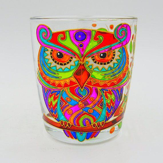 Owl Mug Hand Painted Gift Coffee Tea Handmade Stained