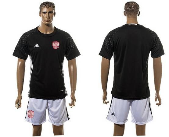 world cup 2016 european cup russia goalkeeper blank black mens soccer shirt kit