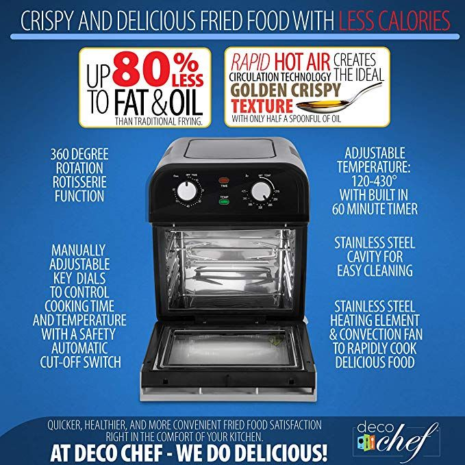 Deco Chef Xl 12 7 Qt Multi Function Air Fryer High Capacity Oven Countertop Convection Toaster Dehydra
