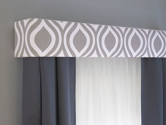 Gray Cornice Board Valance Window Treatment By