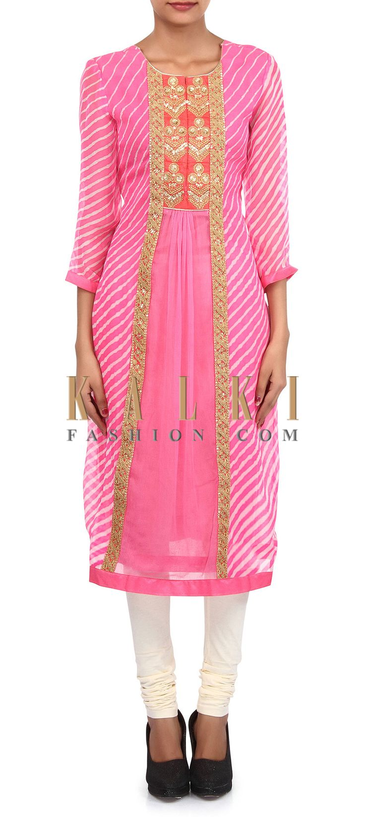 Buy Online from the link below. We ship worldwide (Free Shipping over US$100). Product SKU - 305748.Product Link - http://www.kalkifashion.com/pink-and-cream-suit-adorn-in-zari-and-gathers-embroidery-only-on-kalki.html