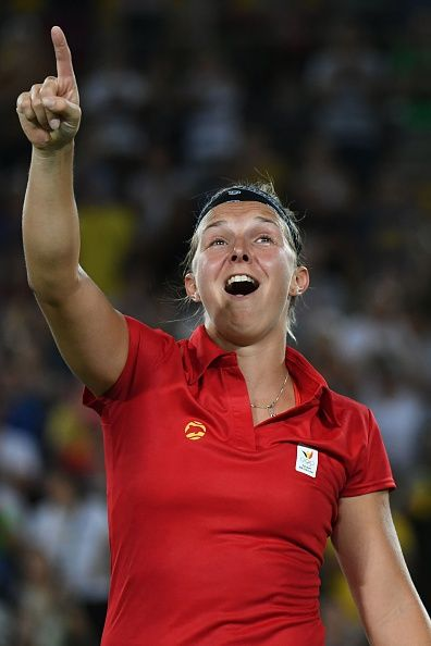 #RIO2016 Best of Day 1 - Belgium's Kirsten Flipkens reacts after winning her women's first round singles tennis match against USA's Venus Williams at the Olympic Tennis...