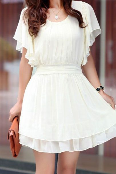 flowy white dress + tan clutch. zazumi.com