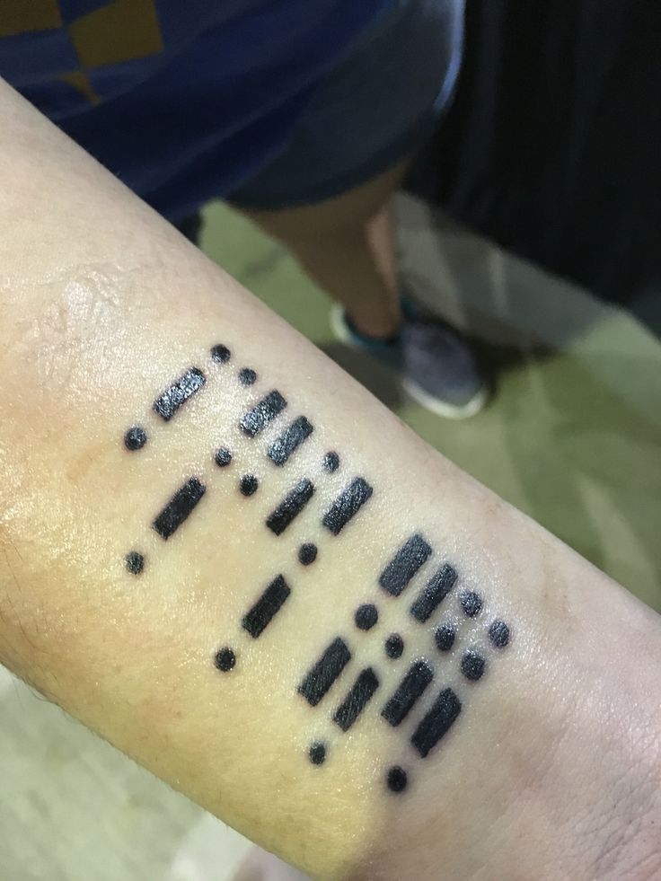 """Morse code (for """"fuck cancer"""") tattoo, done at the Arizona Body Art and Beer Fest"""