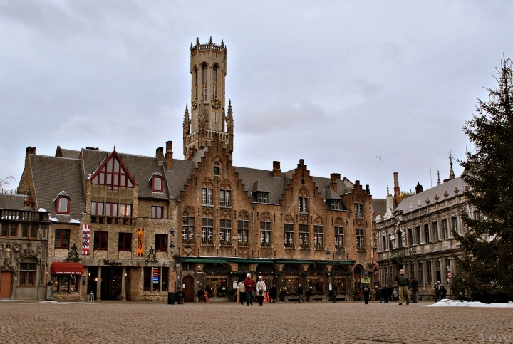 Climbed up in the tower as the church bells struck 11 am and felt the reverb through my body in Bruges, Belgium