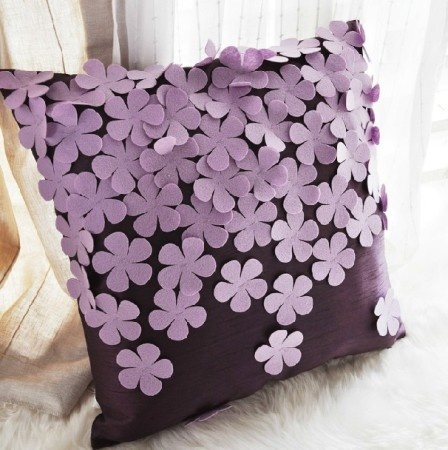 Romantic purple flowers hyacinth stereo aesthetic pillow & cushion