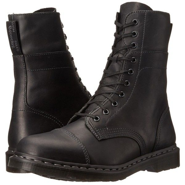 Dr. Martens Hayes (Black Wyoming/Mirage) Men's Shoes ($120) ❤ liked on Polyvore featuring men's fashion, men's shoes, men's boots, mens slip resistant shoes, mens long boots, mens boots, mens urban boots and mens black shoes
