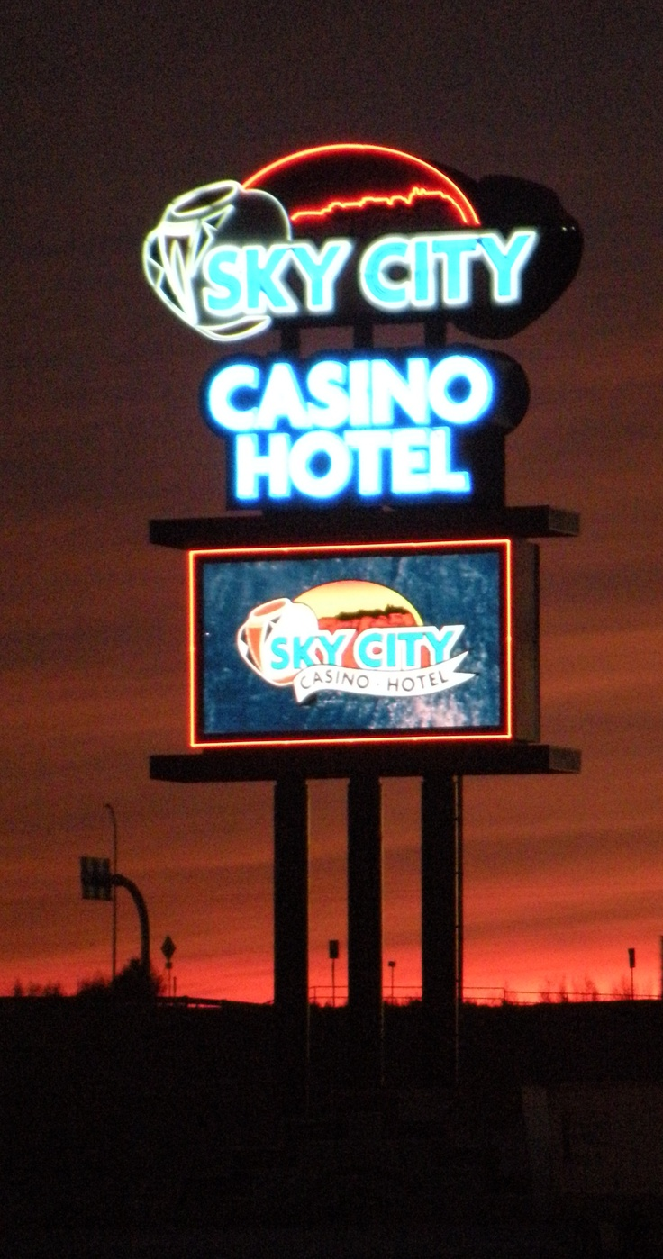 Sky City Casino/Hotel signage silhouetted by one of New Mexico's famed sunsets.