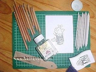 Inkleuren van Stempels met Pastelpotloden van Derwent