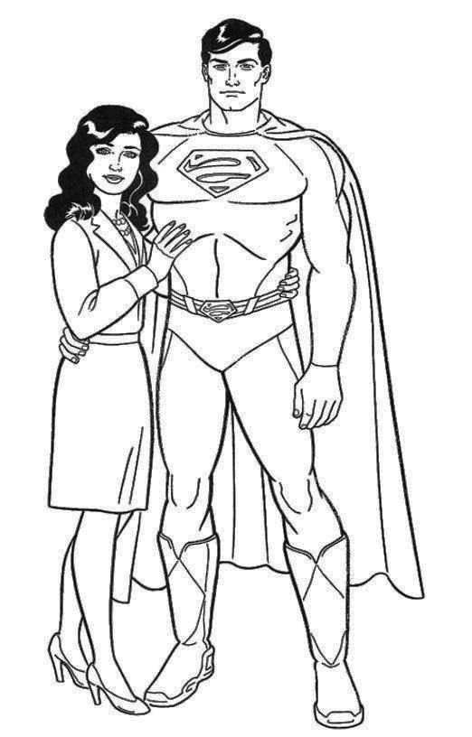 Handsome kent and lois lane coloring page