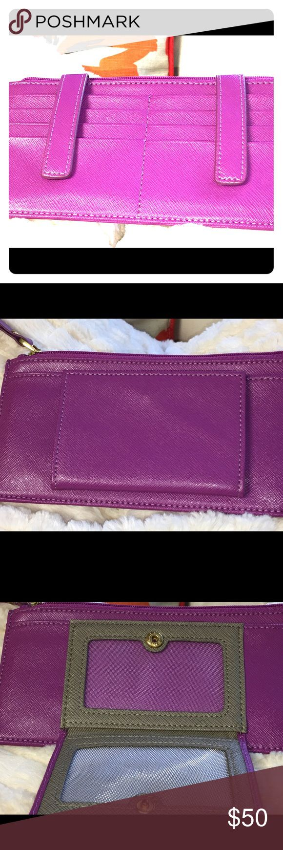 💜💜 Leather Credit Card Holder and Bifold 💜💜 Very nice leather credit card holder and bifold!! 8 slots for credit cards with snap closures to secure cards. License holder and 2 places for bills or coins.  Not sure of dimensions, but slim style fits most small and cross body style bags. Neiman Marcus Accessories Key & Card Holders