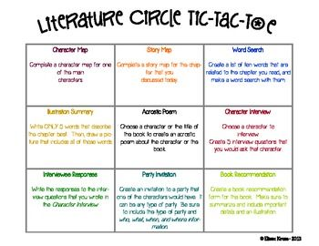 Literature Circle Activities (with rubric) that are engaging and appeal to different learning styles.  These are very versatile.  They can be done as a group, with a partner, or independently.  They're great for assessments and as discussion starters.