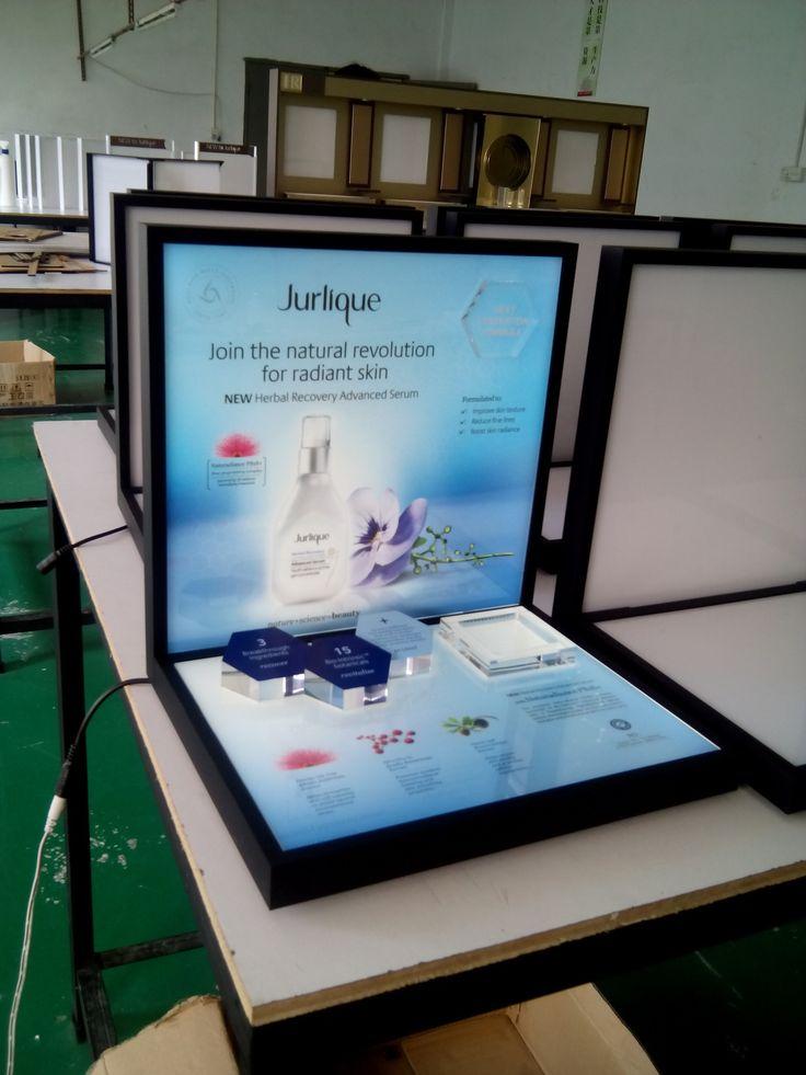 Jurlique Luxury Organic Natural Cosmetics Essential Oil Skincare Glorifier Counter Flexible Display POS POP 3D Blocks Silkscreen Cool Visual Backlit Led Lighting Yamei Group