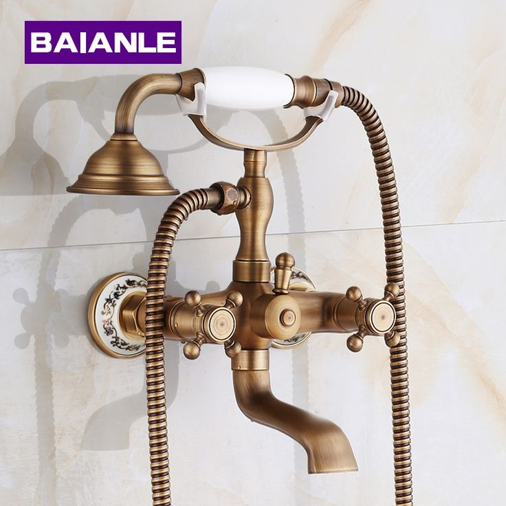92.50$  Watch now - New Arrival In-Wall  Shower Faucets with Ceramic Mixer Tap Antique Brass Bath Shower Faucet Set Bathtub Faucet  #buyonlinewebsite