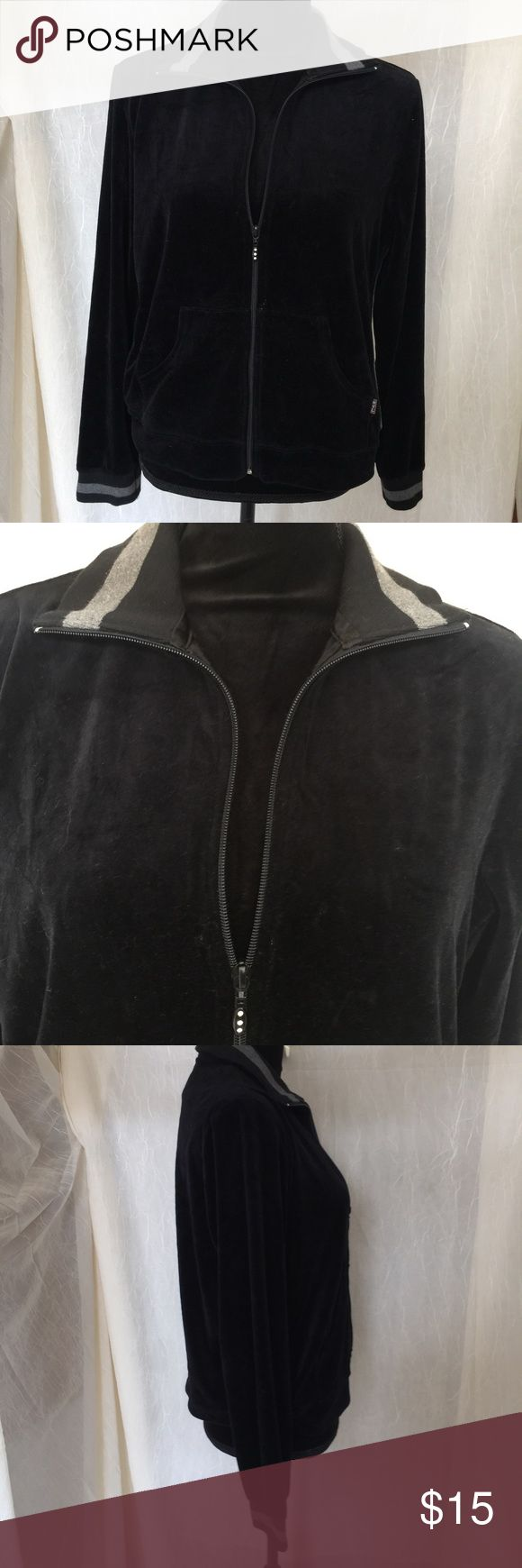 """New York Laundry velour zip-up Black Jacket Color: Black Style: Light Velour Jacket Material: 80% cotton 20% polyester Size: M Shoulder width: 17"""" Length: 20"""" Sleeve: 22"""" Bust: 19"""" Care: Machine wash cold with like colors or separately. Only non-chlorine bleach when needed. Tumble Dry low. Cold iron if necessary.  Extra Details: Grey stripes down the sides, on the collar, and on the cuffs. Soft, velour-like exterior. Front zipper closure. Two front pockets. new york laundry Jackets & Coats"""