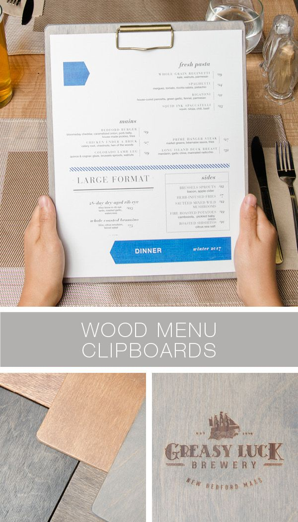Customizable wood clipboard for restaurant menus. Choose your size, color and add a logo.