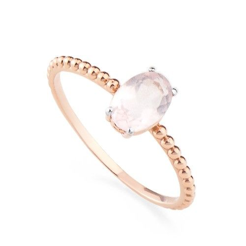 Anel em Ouro Rosê 18k Quartzo Rosa Oval an32806 KT - Joiasgold