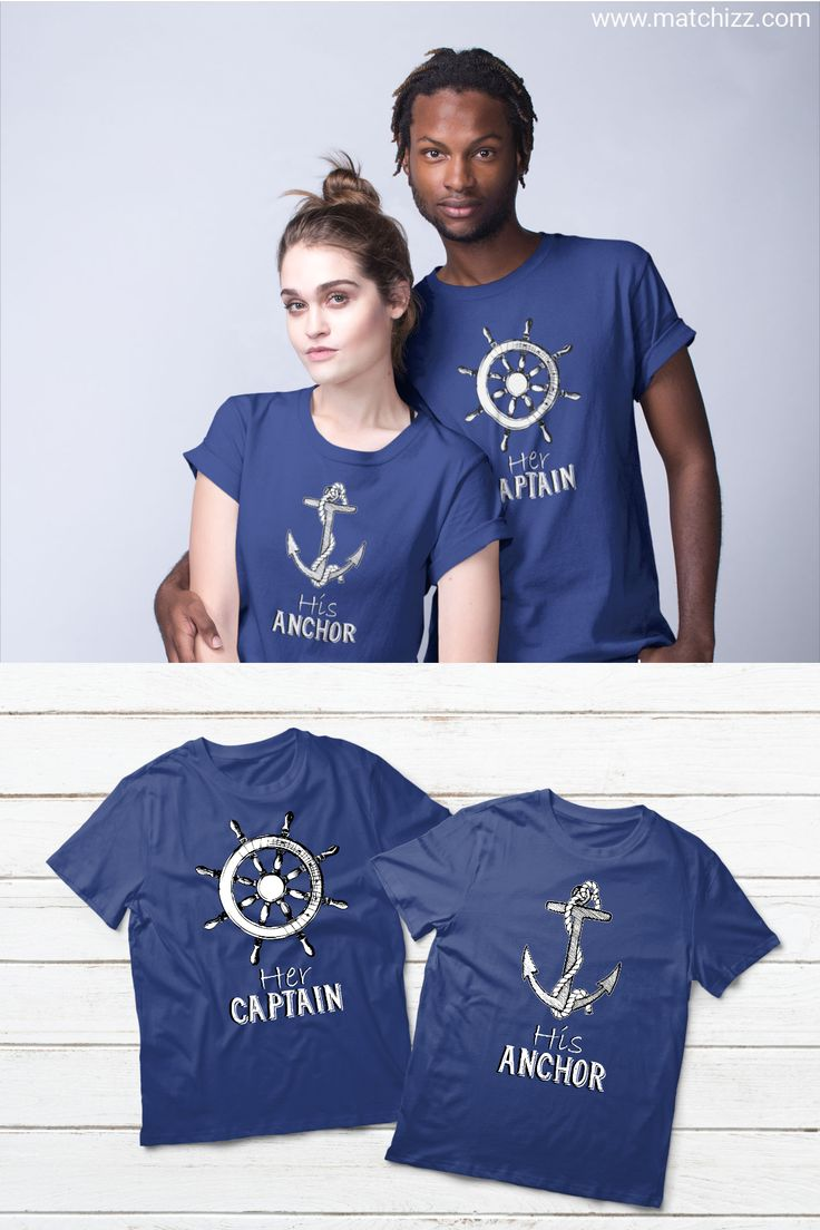 His And Hers Captain Anchor Cruise Couples Shirts