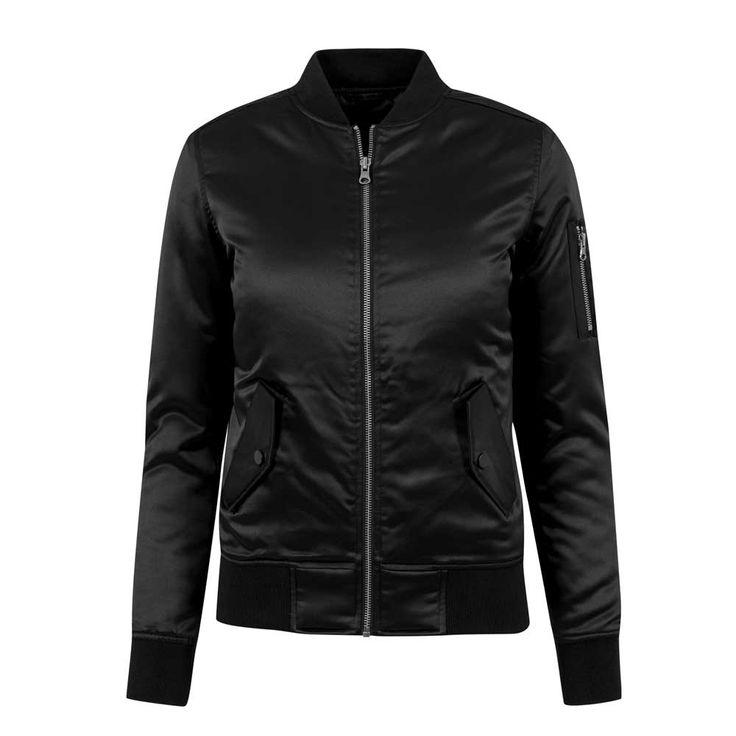 Dames satijn bomber jacket zwart