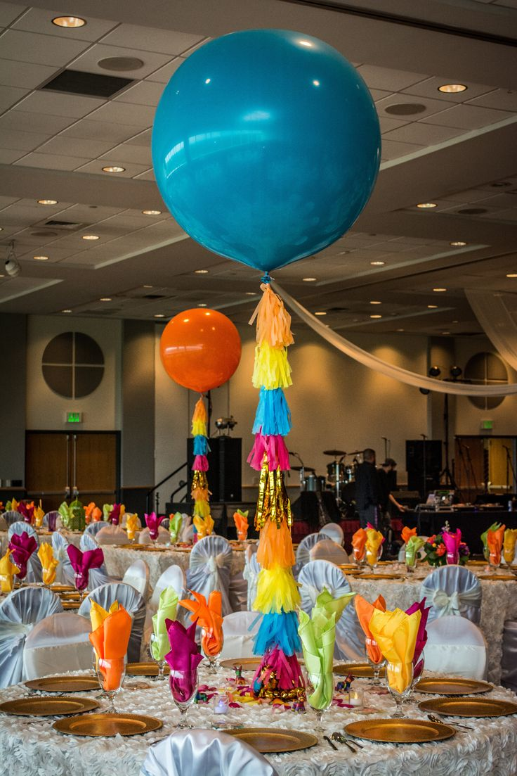 Jumbo balloon centerpieces balloon tassels fiesta wedding colorful fiesta wedding