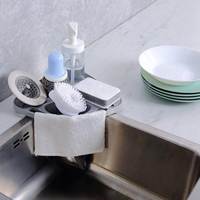 Kitchen Sink Caddy Sponge Holder Scratcher Holder Cleaning Brush Holder Sink Organizer Grey Kitchen Sink Caddy Kitchen Caddy Kitchen Sink Organization