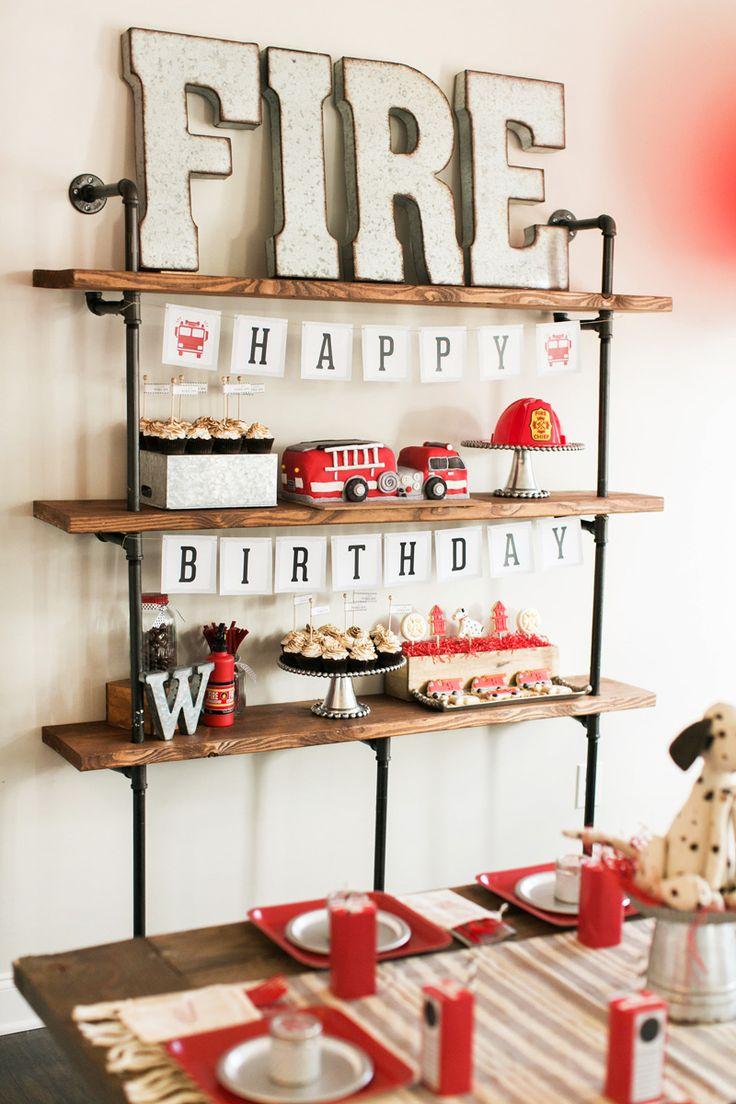 Industrial & Modern Fire Truck + Puppy Birthday Party