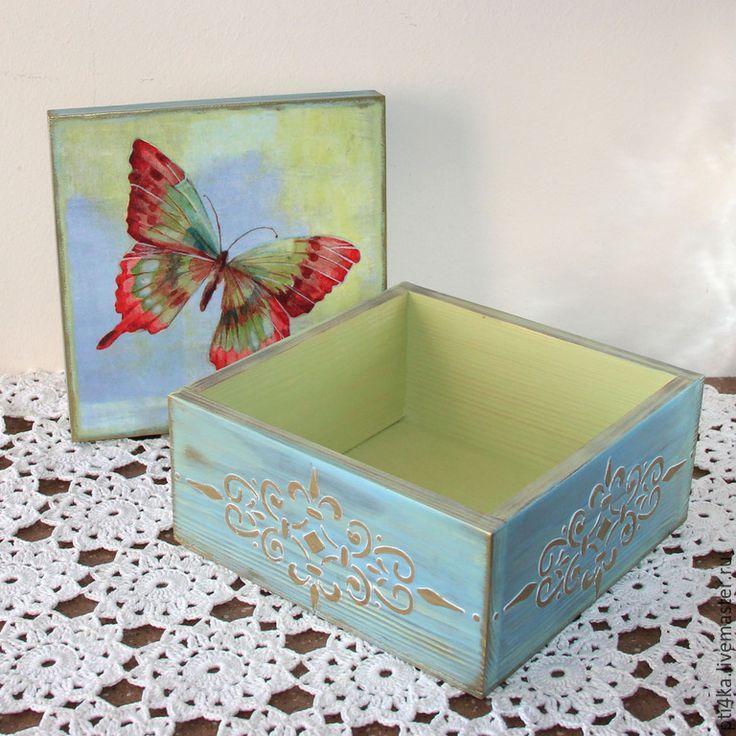 """Купить Шкатулка для мелочей """"Бабочка"""", короб для мелочей. Декупаж. - шкатулка, шкатулка для украшений, шкатулка декупаж"""