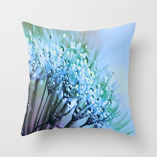 Periwinkle Blue Teal Flowers Throw Pillow Teal Products