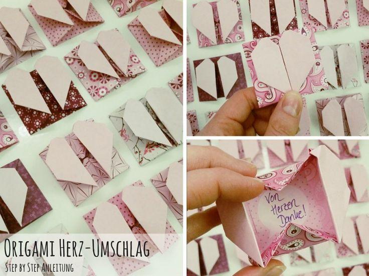 Origami Anleitung: Herz-Umschlag falten