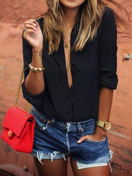 Black Lapel Long Sleeve Buttons Blouse Mobile Site